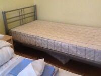Single bed metal frame , metal slats.