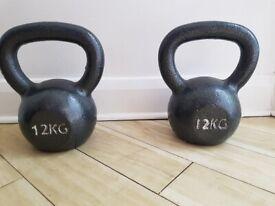 2x 12kg Cast Iron Kettlebells