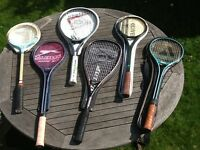 6 squash rackets Dunlop Slazenger Pro-Kennex Grays - not used for years vgc buyer collects £15 lot