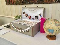 Retro suitcase transformed into quirky wedding card box