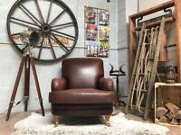 Mark & Spencer Armchair Leather Brown Castor Legs