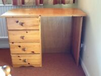 Older child's desk or dressing-table, pine, with 4 drawers