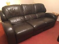 Brown Leather 3 Piece Sofa / Suite (Recliners) Good Condition