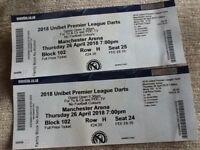 2 X Premier League Darts Tickets for sale