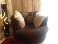 Gorgeous comfy swivel cuddle chair and three seater settee matching
