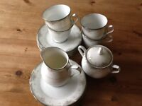 Noritake Greenbriar tea set. 4 cups,saucers, tea plates, milk jug and covered sugar bowl.