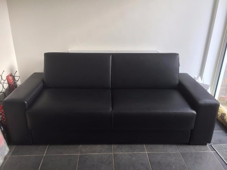 Black Leather type Sofa Bed with Storage