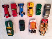 collection of vintage metal toy cars from the 1970,s.
