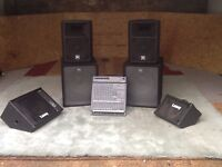 Complete Band PA system with 12 Channel Mixer amp, EV speakers and powered monitor.