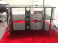 Tv stand black glass with chrome