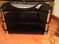 Modern black glass 2 shelf TV stand