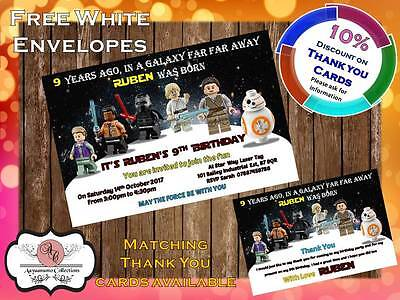 10 x Personalised Star Wars Birthday Party Invites with Envelopes 18