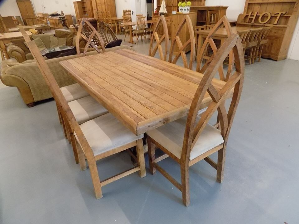 Rustic Solid Pine Dining Table 8 Gothic Chairs
