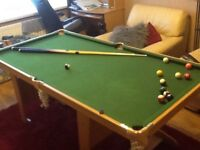 REDUCED!!! £65 POOL TABLE, CUES, FULL SET BALLS IN ORIGINAL BOX AND TRIANGLE, GREAT CONDITION