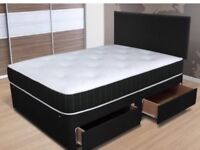 4 DRAWER STORAGE DIVAN BED INCLUDING MEMORY MATRESS FREE HEADBOARD DELIVERY AVALIABLE