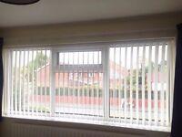 Cream vertical blinds (x2) 270cm width, drop 110cm, width adjustable, good condition