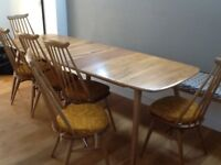 Original Erco lWindsor Elm Extending Dining Table with 8 matching chairs & seat pads