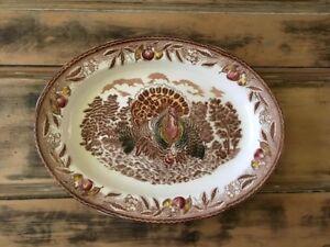Antiquité Grand plat service Dindon Assiette décorative