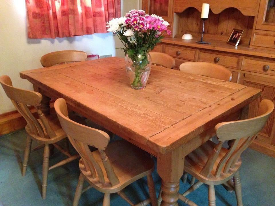 Antique Pine Dining Table And 6 Farmhouse Chairs Warm Pine Family Set In