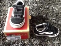Infants Black and White Vans Trainers
