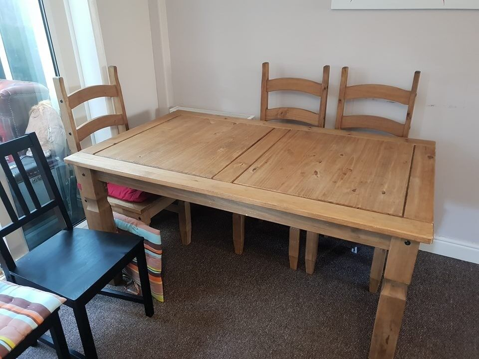 Wood dining table with 3 matching chairs along with 3 different ...