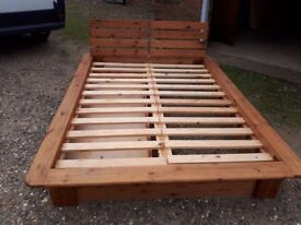 Vintage pine bed surround with draw