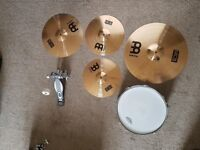 Cymbals, snare and pedal - Set up for back line gigs and/or practice