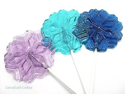 12 LARGE SNOWFLAKE LOLLIPOPS - HARD CANDY LOLLIPOPS - Large Lollipops