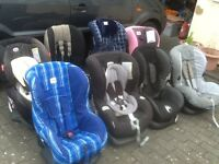 From £25 to £45 each-group 1 car seats for 9kg upto 18kg(9mths to 4yrs)all checked,washed&cleaned