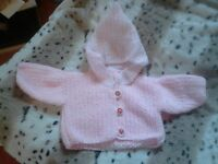 Hand Knitted Pink Baby Hoodie age 0-3 months