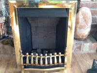 Here for sale I have a gas fire with gold effect frame and grate with coal effect cobbles