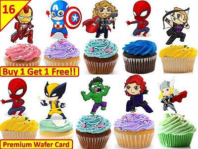 UTE Boys Spider Cup Cake Fairy Edible Wafer Toppers STAND UP (Avengers Cupcake Stand)