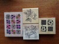 Selection of flowers and buttefly rubber stamps