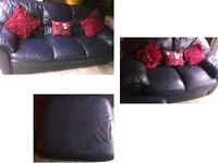 PLEASE RING / TEXT Lovely 3 seater and 2 seater sofa with matching pouffe Blue leather Very comfy