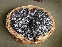 """Beautiful wicker pet basket and """"lucky pet"""" cuhsion"""