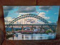 Tyne Bridge with Great North run sign Canvas