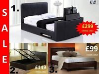 BRAND NEW LEATHER BED AND GAS LIFT TV BED IN BLACK + DELIVERY