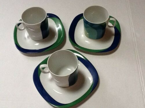 Block Langenthal Switzerland Transition 3 Cups & Saucers Pre Owned Blues Greens