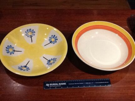 2 Large Round Platter Bowls-Ceramic-one made in Italy