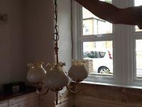 Glass/brass light fittings with matching wall lights