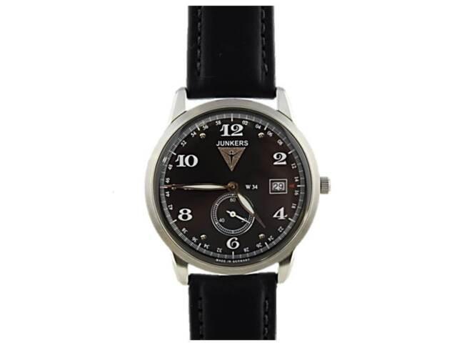 JUNKERS  Herren Armbanduhr Uhr watch 6334-2 Flatline Dessau, Leder schwarz