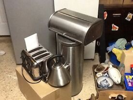 Stainless steel 4 slice toaster, kettle, bread bin and large pedal bin