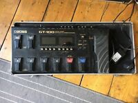 Boss GT-100 multi effects processor with Stagg flight case