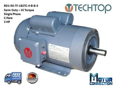 3 Hp Electric Motor Farm Duty 1800rpm Single Phase 182tc C-face