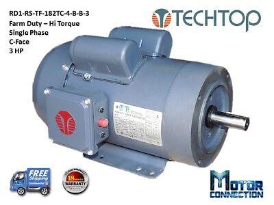 3 Hp Electric Motor Farm Duty 1800rpm Single Phase 182tc C-face