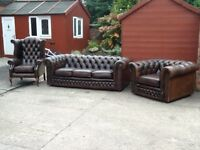 Antique brown leather chesterfield 3 piece suite 3 seater 2 chairs £700 can deliver free locally