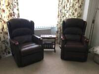 Two maching leather reclining chairs (Aldiss)