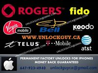 UNLOCK ANY 4/4S/5/5C/5S/6/6+ IPHONE *ROGERS/FIDO* PROMO *$20*