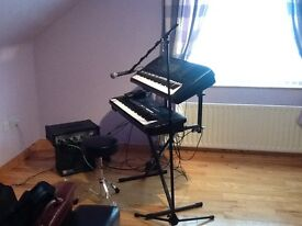MUSICAL INSTRUMENTS: KEYBOARDS, PA SYSTEM, VOCAL HARMONISER, SHURE MICROPHONE, STANDS AND CASES.