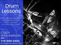 Professional drummer providing in home music lessons!